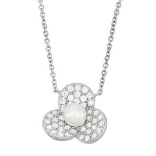 La Preciosa Sterling Silver Cubic Zirconia and Pearl Flower Necklace