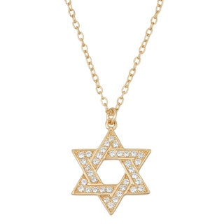 La Preciosa Sterling Silver Goldplated Cubic Zirconia Star of David Necklace
