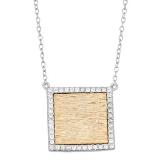 La Preciosa Sterling Silver Two-tone Cubic Zirconia Necklace (2 options available)