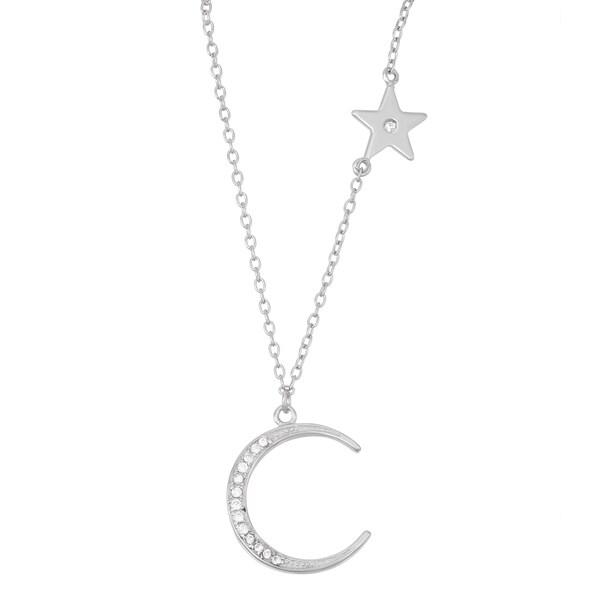 La Preciosa Sterling Silver Cubic Zirconia Moon and Star Necklace