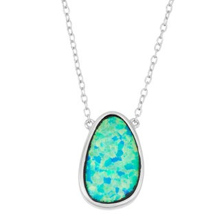 La Preciosa Sterling Silver Blue Opal Necklace