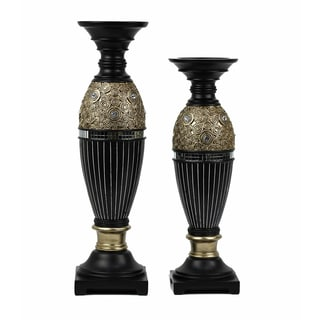 D'Lusso Designs Iris Design Two Piece Hurricane Candlestick Set
