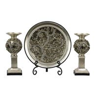 D'Lusso Designs Alana Collection Four Piece Charger, Stand And Two Candlestick Set