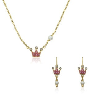Super Cute From Molly Glitz 14k Goldplated Freshwater Pearl Princess Crown Crystal Earrings and Necklace Set