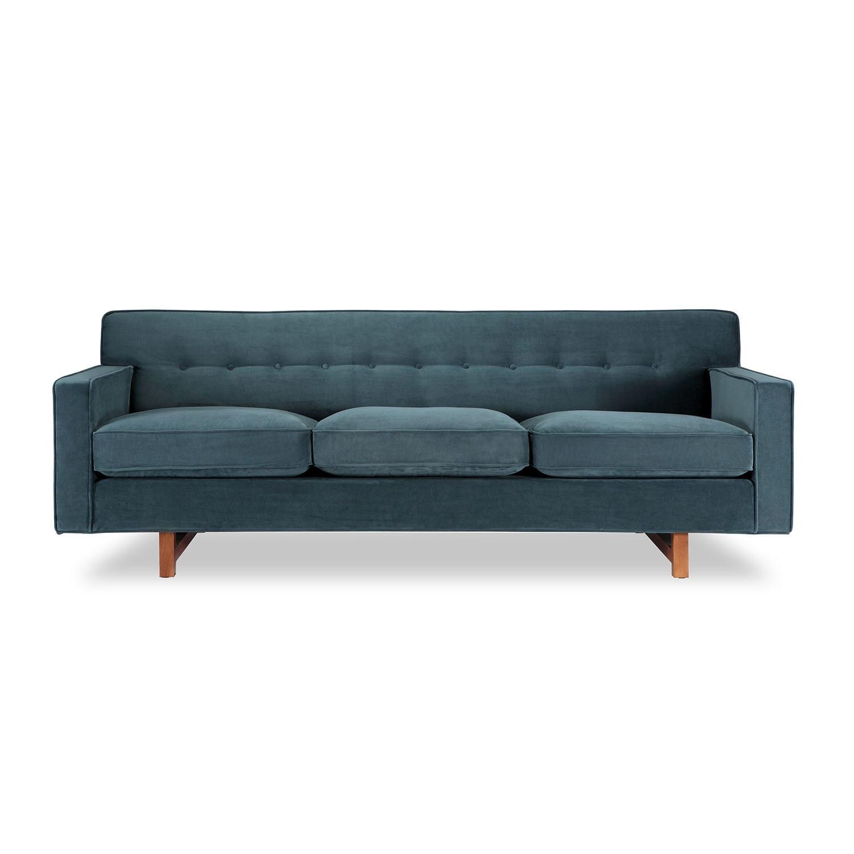 Kennedy Mid-century Modern Neptune Plush Velvet Classic Sofa