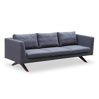 Catherine Midcentury Modern 3-Seat Sofa, Walnut/Savile Tailored Twill