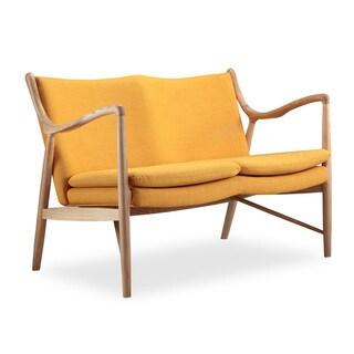 Copenhagen 45 Mid-century Modern Citrine Twill Loveseat Sofa