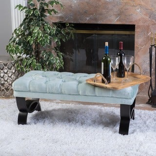 Scarlette Tufted Velvet Ottoman Bench by Christopher Knight Home