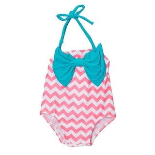 Dippin Daisy's Pink Chevron Infant and Todddler's One Piece w/ Bow