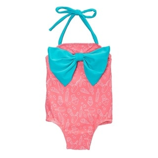 Dippin' Daisy's Girl's Pink Popsicle Blue Bow One-Piece Swimsuit