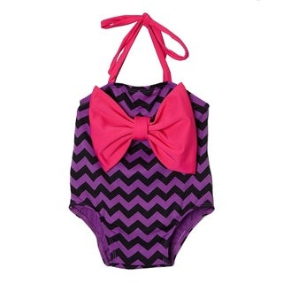 Dippin Daisy's Purple Chevron Infant and Todddler's One Piece w/ Bow