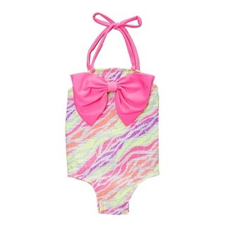 Famous Maker Pink Zebra Infant and Todddler's One Piece w/ Bow