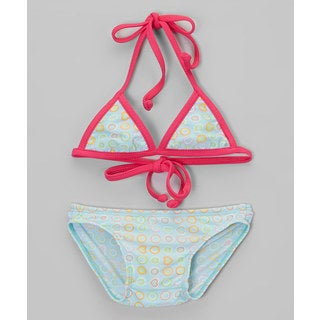 Dippin Daisy's Infant and Toddler's Mint Dot Two Piece Triangle Bikini
