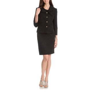 Tahari Arthur S. Levine Women's Textured Circular Printed Bow Collar 2-Piece Skirt Suit