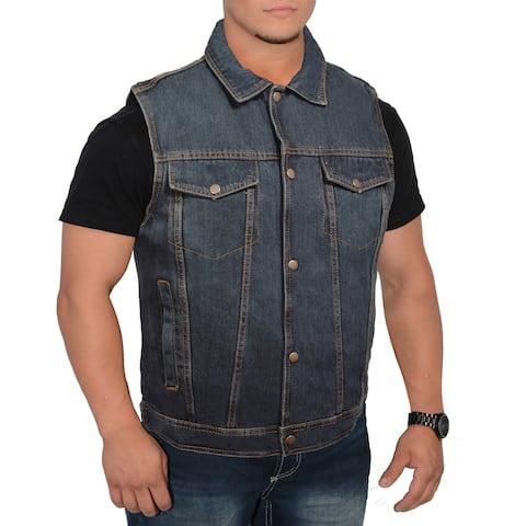 Men's Snap Front Denim Vest with Shirt Collar