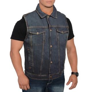 Men's Snap Front Denim Vest with Shirt Collar (Option: 6xl)