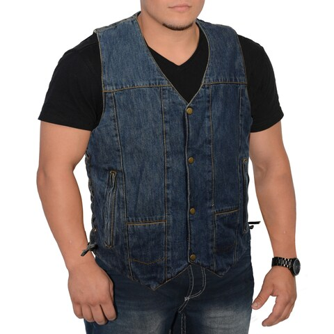 Men's 10-pocket Side Lace Denim Vest
