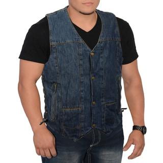 Men's 10-pocket Side Lace Denim Vest (Option: 6xl)