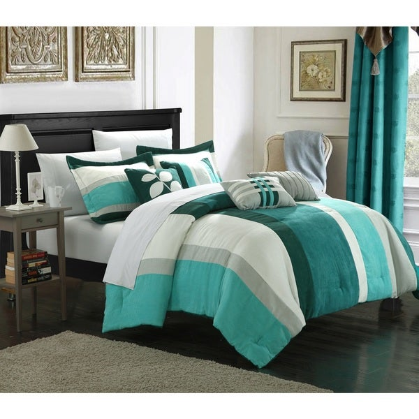 Chic Home Valley 11-Piece Plush Turquoise Microsuede Striped Comforter Set Bed in a Bag