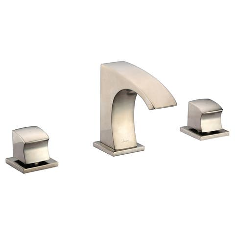 Dawn Brushed Nickel 3-hole 2-square Handle Widespread Lavatory Faucet