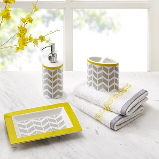 Intelligent Design Elle 5-piece Bath Accessory Set (Option: Grey/Yellow)