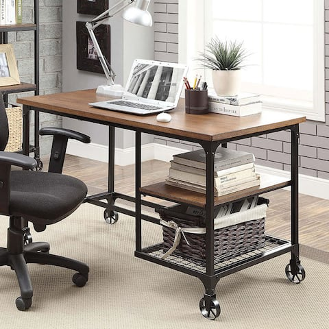 Furniture of America Daimon Industrial Medium Oak Writing Desk