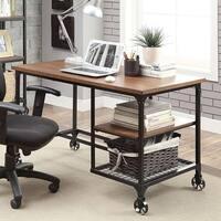 Furniture of America Daimon Industrial Medium Oak Writing Desk
