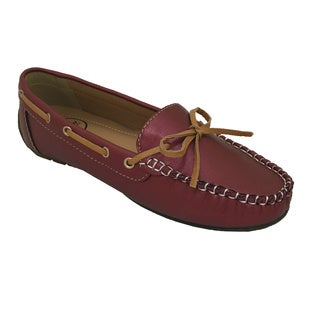 Women's Faux Leather Driving Moccasins with Bow