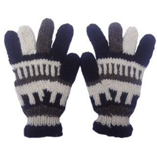 Hand-knitted Woolen Fleece Lined Gloves (Nepal)