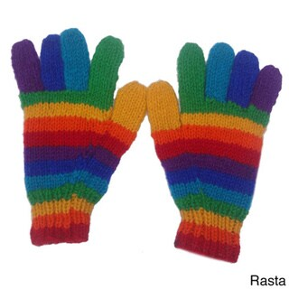 Hand-knitted Woolen Fleece Lined Gloves (Nepal)