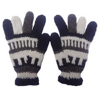 Handmade Knitted Woolen Fleece Lined Gloves (Nepal)