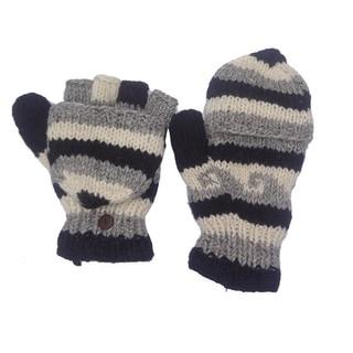 Woolen Fleece-lined Flip-top Hand-knitted Gloves (Nepal)