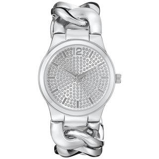 Vernier Paris Women's Pave' Crystal Dial Chain Link Watch