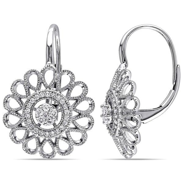 Miadora 14k White Gold 1/4ct TDW Diamond Flower Dangle Earrings