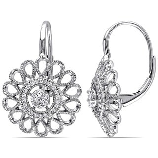 Miadora 14k White Gold 1/4ct TDW Diamond Flower Dangle Earrings