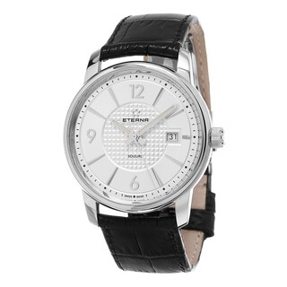 Eterna Men's 8310.41.13.1185 'Soleure' Silver Dial Black Leather Strap Swiss Automatic Watch