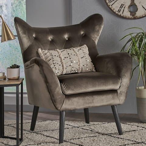 Alyssa Velvet Mid-century Arm Chair by Christopher Knight Home