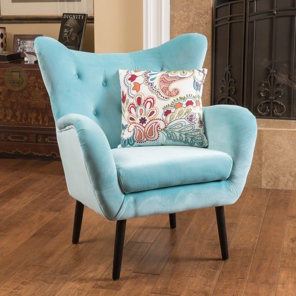 Alyssa Velvet Arm Mid Century Style Chair By Christopher