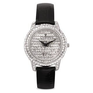 Croton Women's CN207544BSPV Stainless Steel Silvertone Stone Crystal Watch