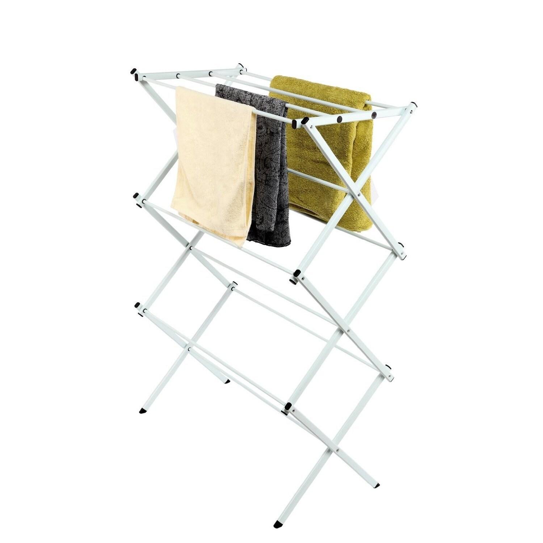 StorageManiac White Folding Clothes Drying Rack (White, 4...