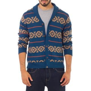 Handmade Men's Alpaca Blue Chakana Cardigan (Peru)