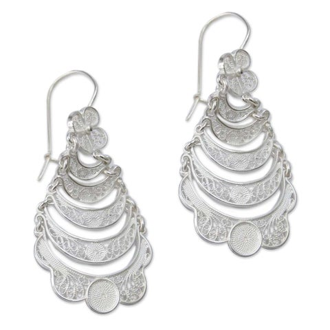 Handmade Sterling Silver 'Catacos Rose' Earrings (Peru)