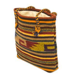Handmade Wool 'Zapotec Twilight' Bag (Mexico)