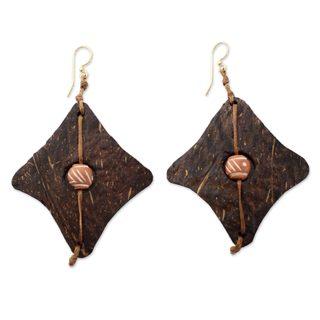Coconut Shell Terracotta 'Medieval Diamonds' Earrings (Ghana)
