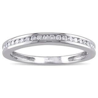 Miadora 14k White Gold 1/5ct TDW Diamond Wedding Band