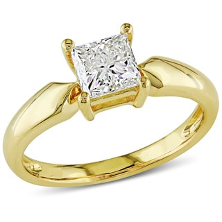 Miadora Signature Collection 14k Yellow Gold 1ct TDW Princess-cut Diamond Solitaire Engagement Ring(J-K,I2-I3)