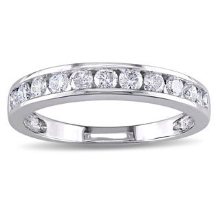 Miadora 10k White Gold 1/2ct TDW Diamond Anniversary Band