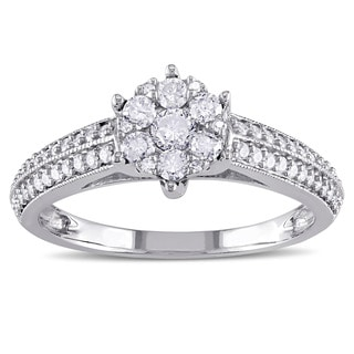 Miadora 14k White Gold 1/2ct TDW Diamond Cluster Engagement Ring