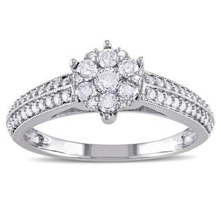 Miadora 14k White Gold 1/2ct TDW Diamond Cluster Engagement Ring (G-H, I1-I2)