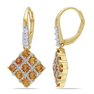 Miadora Yellow Plated Sterling Silver Yellow Sapphire and 1/5ct TDW Diamond Dangle Earrings (G-H, I1-I2)